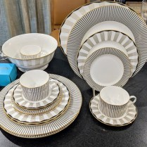 **ITEM NOW SOLD** 62 piece Lenox 'Audrey' china set. Never used. 12; five-pc. place settings plus 2 serving pieces. Current List: $2000. Modele's Price: 650.- set