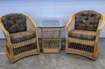 """Pair classic vintage McGuire chairs with matching table. Chairs: 26""""w x 28""""d x32""""h. Table: 22"""" x 28"""" x 23""""h. 1100.- set"""