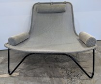 **ITEM NOW SOLD** Pair Blu Dot Rapson outdoor loungers, can seat two. Mesh sling seats on steel frame. (3 snaps on cushions need replacing) Current List: $1,598. pair Modele's Price: 550.- pair