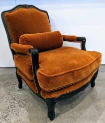 "**ITEM NOW SOLD** Pair Century French-style lounge chairs. Frames are 12 years old, new mohair upholstery less than 2 years old. Mohair fabric alone was over $2000. 30""w x 34""d x 37""h. 1650.- pair"