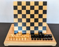 Bauhaus chess set, designed by Josef Hartwig in 1923. Produced by Naef, Swiss made. Never used, box for pieces included. Current List: approx. $599. Modele's Price: 350.-