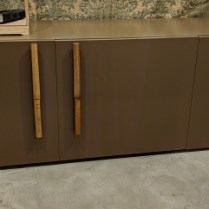 "**ITEM NOW SOLD** Bontempi Casa 'Bambu' credenza; brown lacquered finish with bamboo handles. 88.5""w x 21.75""d x 27.75""h. Orig. List: $6,000. Modele's Price: 1750.-"