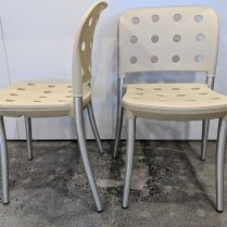 """Halifax 'Minni' indoor/outdoor dining chairs, stackable. Never used. 20""""w x 20""""d x 31.5""""h. Orig. List: $599.-699. each. Modele's Price: 295. pair (3 pairs available)"""