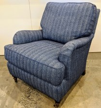 "**ITEM NOW SOLD** Lee lounge chair, model #3452-01. Never used. Kravet fabric, Perennials trim, arm caps included. 30.5""w x 39""d x 35""h. Orig. List: $2,636. Modele's Price: 1500.-"
