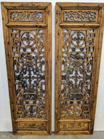 """**ITEM NOW SOLD** Pair antique carved Chinese panels. Each panel; 16.5""""w x 51.5""""h. Beautiful detail. 550.- pr."""