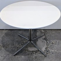 "**ITEM NOW SOLD** Modern side table, maker not known. Matte lacquer top on chromed steel base. 23.75"" dia. x 19.25""h. Orig. List: $1,575. Modele's Price: 295.-"