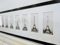 "Framed series of Eiffel Tower photographs: ""Construction of the Eiffel Tower"". Purchased 20-25 years ago in London. 70""l x 17.75""h 950.-"