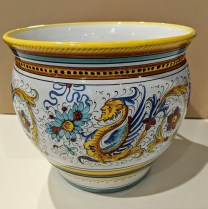 """**ITEM NOW SOLD** Italian 'Deruta' hand-painted pot with white interior. 12"""" dia. x 10.5""""h 150.-"""