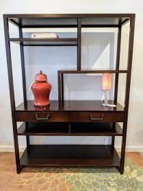 """Michael Weiss for Vanguard etagere with two drawers. Purchased from Masins. 55""""w x 20""""d x 76.5""""h. Orig. List: over $2000. Modele's price: 1100.-"""
