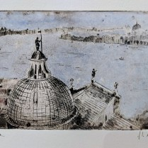 Hand-tinted etching by Venetian artist Alessandra D'Agnolo. 58.50