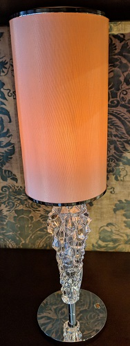 """**ITEMS NOW SOLD** Axo Light 'Subzero' mini table lamp. Bohemian glass base, Italian design. Never used in a home, arrived in original box. 4.5"""" dia. x 15.5""""h. Current List: $288. Modele's Price: 150.- each (3 available)"""
