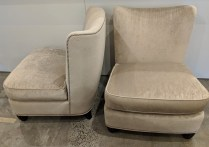 "**ITEM NOW SOLD** Pair Baker Barbara Barry slipper chairs. Approx. 15 years old, very light use. Nail head trim, sculpted feet. 28""w x 32""d x 34.75""h Orig. List: $2,500.-3,000.each. Modele's Price: 2250.- pr."