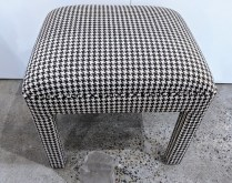 """**ITEM NOW SOLD** Custom upholstered Parsons stool. 20.25""""w x 17.25""""d x 18.5""""h. 150.-"""