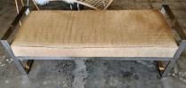 """Kravet bench, chrome frame, upholstered with hair-on-hide. 10 yrs. old. 54.75""""l x 21""""d x 18.25""""h. Orig. List: $3,459. Modele's Price: 1295.-"""