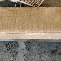 "**ITEM NOW SOLD** Kravet bench, chrome frame, upholstered with hair-on-hide. 10 yrs. old. 54.75""l x 21""d x 18.25""h. Orig. List: $3,459. Modele's Price: 950.-"