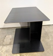 "**ITEM NOW SOLD** Living Divani (Italian) steel side table. Approx. 12 years old, nice patina. 23.5"" x 15.25"" x 16""h. Orig. List: $1,200. Modele's Price: 495."