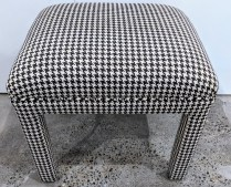 """Parsons stool with custom upholstery. 20.25""""w x 17.25""""d x 18.5""""h. 150.-"""