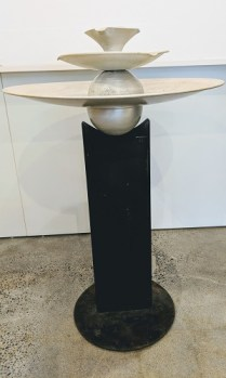 """""""Three Bowls"""" Fountain by Tom Torrens. Approx. 20 years old (design still current). Steel box beam base. 30.5"""" dia. x. 46.5""""h. Current List: $2,495. Modele's Price: 1250.-"""