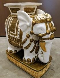 "Vintage ceramic elephant garden stool (2 available). 22""l x 10""w x 22""h. 175.- each"