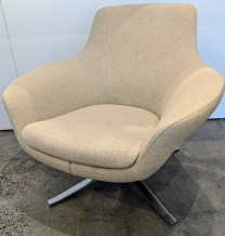 """**ITEM NOW SOLD** 'Bob' swivel lounge chair by Coalesse (division of Steelcase Furniture). 4-6 yrs. old, very light use. Wool blend. 34.5""""w x 33""""d x 32""""h. Current List: $2,287. Modele's Price: 795.-"""