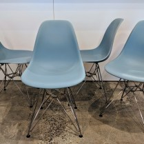 "**ITEM NOW SOLD** Set/4 Herman Miller Eames Molded Plastic side chairs. Seven years old, excellent condition. Chrome finish on wire base. 18""w x 21""d x 31.5""h. Current List: $1,380. set Modele's Price: 750. set"
