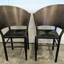 "**ITEM NOW SOLD** Pair vintage Driade-Aleph chairs designed by Philippe Starck, no longer in production. Rush seats, curved wood backs. 26.25""w x 24""d x 34.5""h 695.- pair"