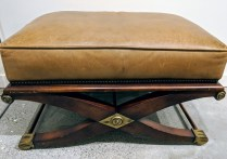 "**ITEM NOW SOLD** Baker Milling Road leather ottoman with nail head trim. Approx. 15 years old. 32.5"" x 20.25"" x 19""h. Orig. List: $1,500. Modele's Price: 550.-"