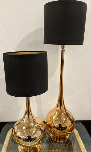 """Table lamps with copper finish. Purchased at 'Louis' in Boston 10 yrs. ago. Foil lined shades. Tall: 36.25"""" h. Short: 26""""h. Orig. List: $500. Each Modele's Price: Tall: 275.- Short: 225.-"""