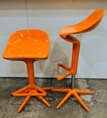 **ITEM NOW SOLD** Pair Kartell 'Spoon' stools. Adjustable height seats, use with counter or bar. Current List: $720. Each. Modele's Price: 595. pair