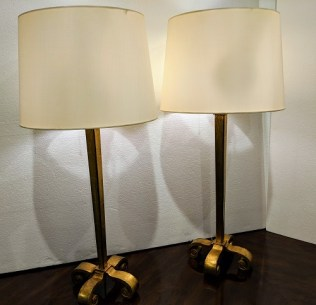 """Pair Dessin Fournir 'Daphne' lamps with double sockets and pull chains. Gold leaf finish. Adjustable height: 30.75"""" - 34.25"""". Orig. List: $3,699. Each. Modele's Price: 1950. pair"""