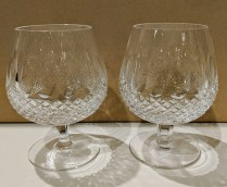 "**ITEM NOW SOLD** Pair Waterford Colleen brandy snifters. C. 1980's. 5.25"" tall. 125.- pair"