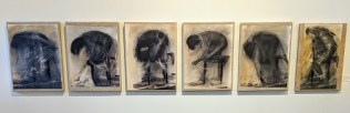 """Set/6 'Nudes in Motion' by Italian artist Alessandra D'Agnolo. Photography printed on lithography paper, painted, mounted on linen. Approx.: 13.75""""w x 18.25""""h. 1950.- set"""