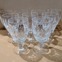 "**ITEM NOW SOLD** Set//9 Waterford Colleen claret glasses. 50-60 years old. 4.75""h 175. set/9"