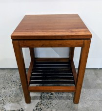 "**ITEM NOW SOLD** Stickley cherry side table. Purchased from Masins in 2002, beautiful patina. 16""sq. x 22""h. 295.-"
