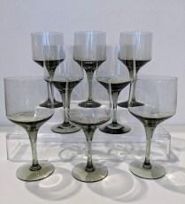 "**ITEM NOW SOLD** Vintage Orrefors 'Rhapsody Smoke' claret glasses. C. 1960's-1970's. 5 5/8"" tall. Set/8: 88.- set"