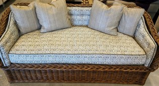 "The Wicker Works 'Square back sofa' in 'C' style (101-C). Premium tobacco finish. Showroom sample, never used in a home. 68.5""w x 31""d x 32""h. Current List: $7,500. Modele's Price: 1750.-"