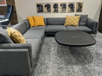 """**ITEM NOW SOLD** DWR (Design Within Reach) 'Como' Corner Sectional. 3 years old. """"Pebble Weave"""" fabric in grey. 10'5"""" x 10'5"""" x 27""""h. Current List: $14,249. Modele's Price: 6950.-"""