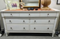 """**ITEM NOW SOLD** Ethan Allen dresser, 7 drawers. Five years old. 68""""w x 20""""d x 36.25""""h. Orig. List: $2000. Modele's price: 895.-"""