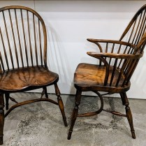 **ITEM NOW SOLD** Set/6 Windsor dining chairs; 2 arm/4 side. PUrchased from Windows On The Past in 1999. Made in England. Orig. List: $3,500.-4,000. Modele's Price: 1500.- set