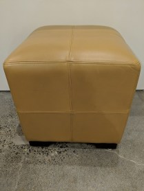 """**ITEM NOW SOLD** Stanley leather cube. Approx. 13 yrs. old. Purchased from the Seattle Design Center. 18"""" sq. x 19""""h. 95.-"""