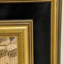 "**ITEM NOW SOLD** Framed mirror from Miller Pollard. Wired for both horizontal or vertical hanging. 29.5"" x 35.5"" 95.-"