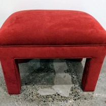 "**ITEM NOW SOLD** Custom bench/ottoman. Upholstered in durable, easy-to-clean microfiber. 25""w x 17.5""d x 18.5""h. 150.-"