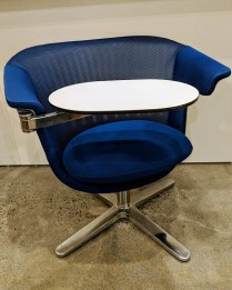 """**ITEM NOW SOLD** Steelcase 'i2i Collaborative chair'. 4 years old, looks unused. Adjustable table, swivel base and seat. 32""""w x 28""""d x 31.25""""h. Current List: $1,500. Modele's Price: 395.-"""