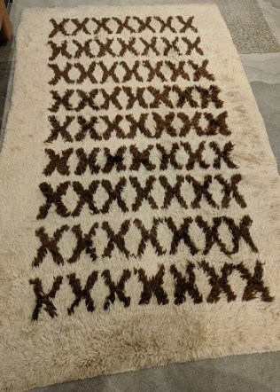 "Vintage Moroccan rug, purchased from J & D Oriental in NYC in 2010. 53""w x 87""l. Orig. $3,600. Modele's Price: 695.-"