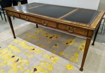 "Baker Collector's Edition writing desk with leather inlay top, 3 drawers. Approx. 20 years old. 72.5""w x 36.25""d x 30.25""h. 1950.- (see matching credenza under 'Sideboards, Cabinets, Chests and Shelves')"