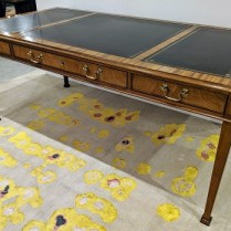 """**ITEM NOW SOLD** Baker Collector's Edition writing desk with leather inlay top, 3 drawers. Approx. 20 years old. 72.5""""w x 36.25""""d x 30.25""""h. 1950.- (see matching credenza under 'Sideboards, Cabinets, Chests and Shelves')"""