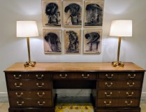 """Baker credenza with banded veneer inlay, 3 file drawers and 3 storage drawers. Approx. 20 years old. 90""""w x 19""""d x 31""""h. 2500.- (see matching writing desk under 'Tables')"""