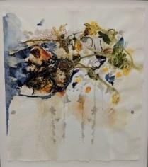 "'Arrangement VI' by Christi Birchfield, 2018. Original on handmade paper; botanical matter and watercolor. Framed, 18.75""w x 20.75""h 900.-"