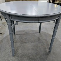 """**ITEM NOW SOLD** Custom-painted vintage dining table. Includes two 18"""" leaves and extra paint. 40.75"""" dia. expands to seat 8 at 76.75""""l 495.-"""