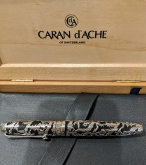 Caran d'Ache of Switzerland 'La Poya' fountain pen. Limited Edition: #1508/2002 Silver/rhodium cage and fittings, diamond on cap. Current List: $1,500.- Modele's Price: 750.-